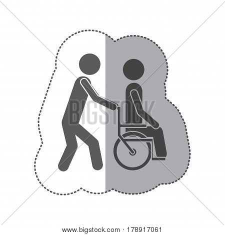 sticker monochrome silhouette person helping another push a wheelchair vector illustration
