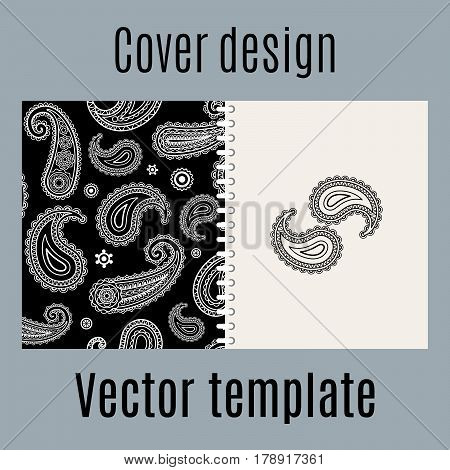 Cover design for print with indian paisley pattern, vector illustration