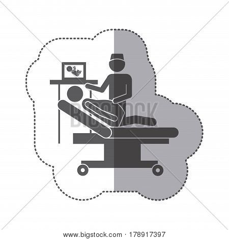 sticker monochrome silhouette pregnant woman with obstetrician vector illustration