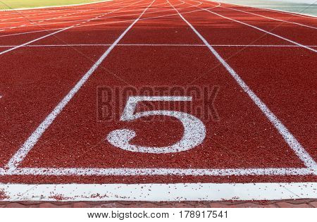 Athlete Track Or Running Track With Numbers Five