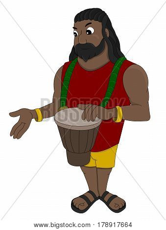 Illustration of a rastaman playing his djembe drum isolated on a white background