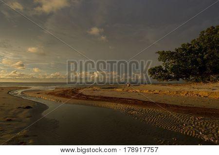 Tropical sunset on the beach. Labuan F.T, Malaysia