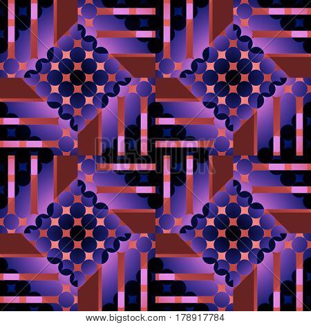Abstract geometric seamless background. Regular circles and diamond pattern with stripes shifted. Elements in violet, terracotta, brown, purple and black.