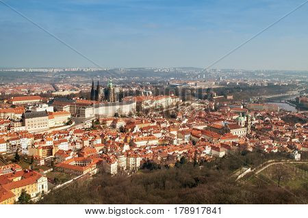 Czech Republic view of the Vltava River and Prague Castle