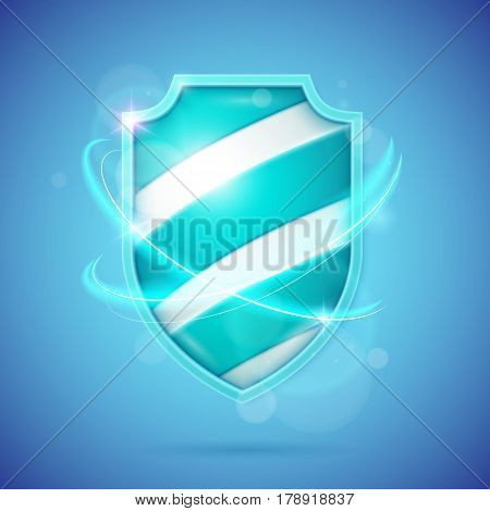 Realistic shield a symbol of protection and reliability. Vector illustration.