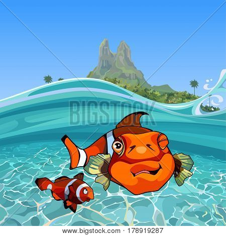cartoon funny a clown fishes under water in the sea near the island