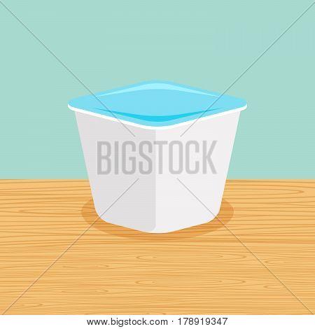Fresh and natural farm yoghurt on the table vector
