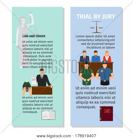 Jury and order concept vertical flyers design. Vector illustration