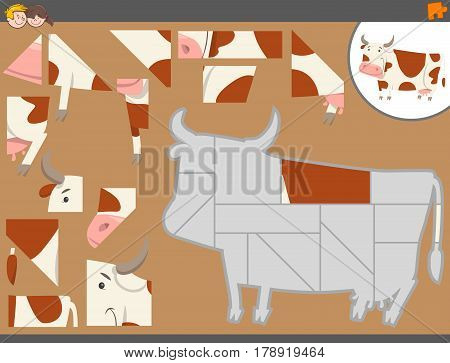 Jigsaw Puzzle Activity With Cow