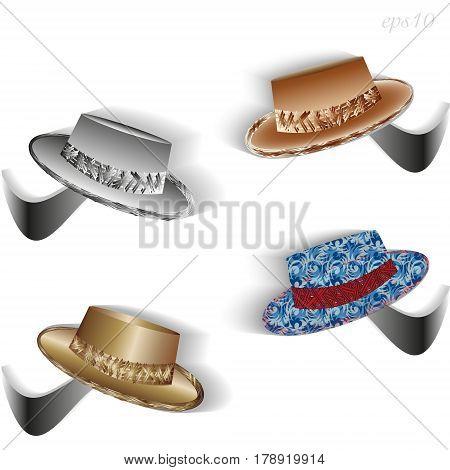 Set of four hats Drawing four original headdress on hooks author design stock vector illustration