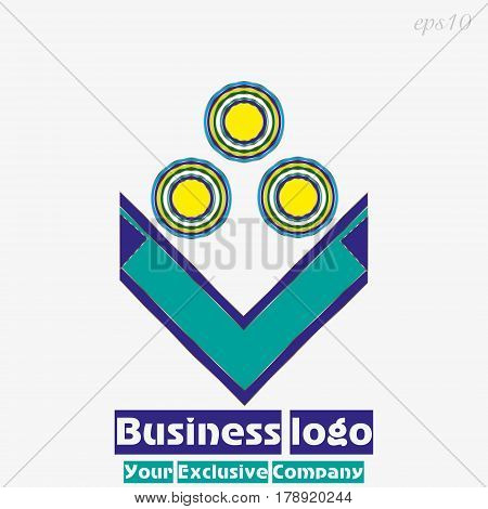Logo three bright circles Image business emblem abstract flower three buds and  leaves multicolor simple drawing text stock vector illustration