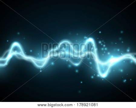 Blue abstract energy shock effect with many glowing particles. Electric discharge on dark background. Vector illustration for your design