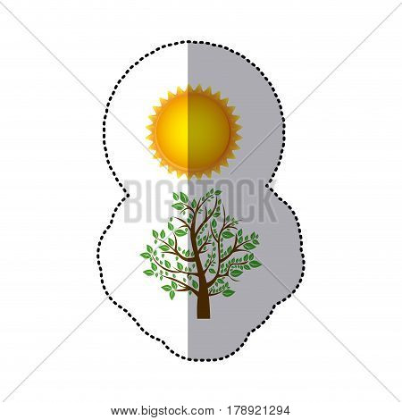 sticker colorful nature picture with tree with leafy branches and sun vector illustration