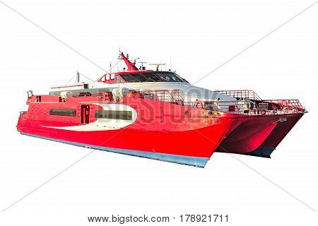 Speedy Passenger Catamaran Carved On A White Background