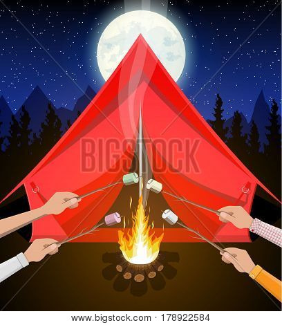 Bonfire with marshmallow. Logs and fire. Tent, forest, moon, sky. Camping, burning woodpile in night. Vector illustration in flat style