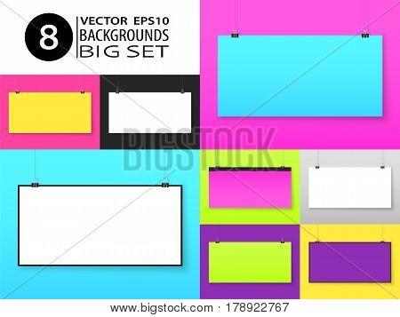 Poster Paper On Binder Clips Mockups Set Brick On Wall Horizontal 1