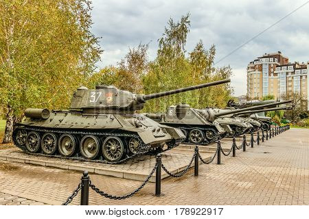Belgorod Russia - October 08 2016: Outdoor area of the Museum diorama exhibition samples of Soviet military equipment during the second world war. In the foreground medium tank T-34.
