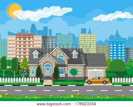 Private suburban house with car, trees, road, sky and clouds. Cityscape. City suburbs. Vector illustration in flat style