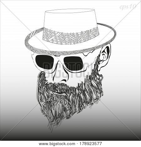 A man with a beard with glasses and a hat Image of a black and white head of a man's headdress  dense beard style hipster stock vector illustration