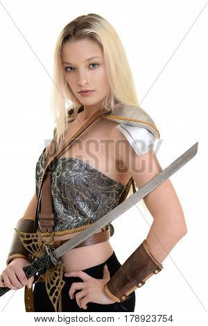 isolated woman warrior with armor and sword