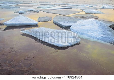 The river ice melts, nice nature background Good Luck with your works