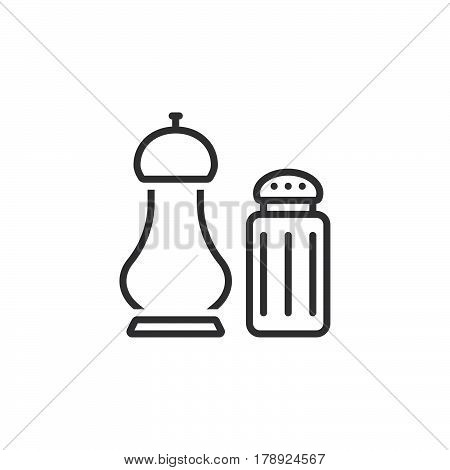 salt and pepper shakers line icon outline vector sign linear pictogram isolated on white. logo illustration