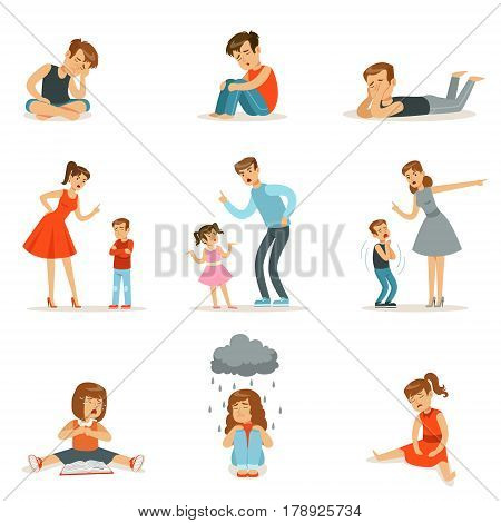 Mutual relations of parents and children, mom and dad scream and scold their children, negative children emotions. Cartoon detailed colorful Illustrations isolated on white background