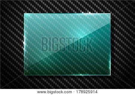 Vector black carbon fiber background with green transparent square glass plate banner. Industrial design illustration.