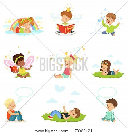 Happy and lovely children play and dream. Cartoon detailed colorful Illustrations isolated on white background