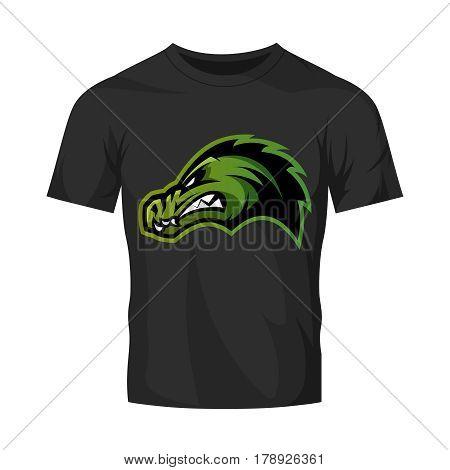 Furious alligator head sport vector logo concept isolated on black t-shirt mockup. Modern predator professional team badge design. Premium quality wild animal t-shirt tee print illustration.