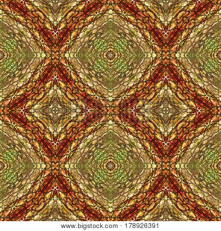 Abstract seamless pattern of beveled squares, scales and stylized reptile texture. Brown, red and green generated pattern with snake skin