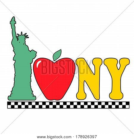 A graphic with the Statue of Liberty an apple and the New York City taxi checkers pattern