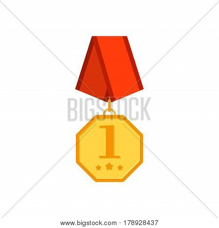 Gold medal with red ribbon isolated on a white background. Award gold in flat tyle