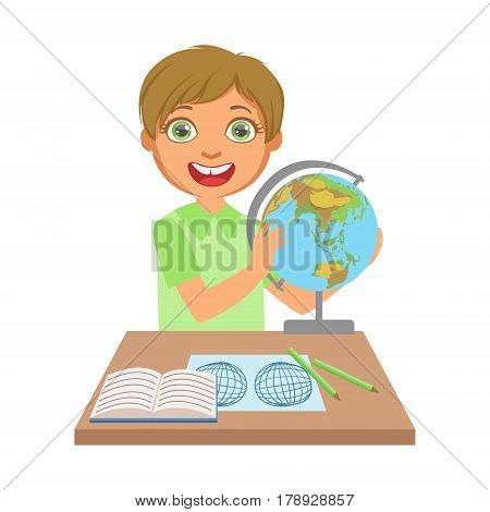Little boy studying geography with globe on study table, education and back to school concept, a colorful character isolated on a white background