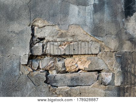 Fragment of the old crumbling walls. Background.