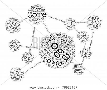 Need power Try Core Power Yoga text background word cloud concept