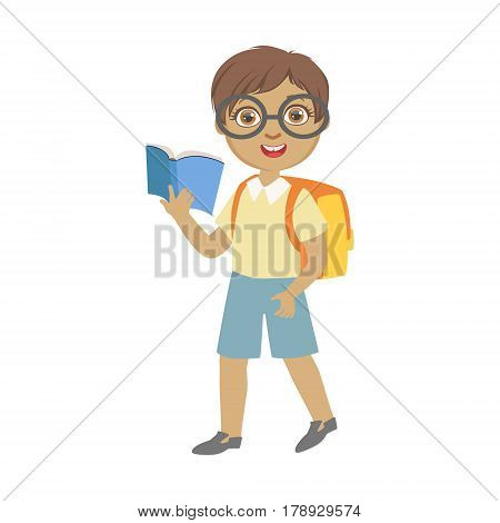 Cute schoolboy wearing glasses carrying backpack and holding blue book, education and back to school concept, a colorful character isolated on a white background