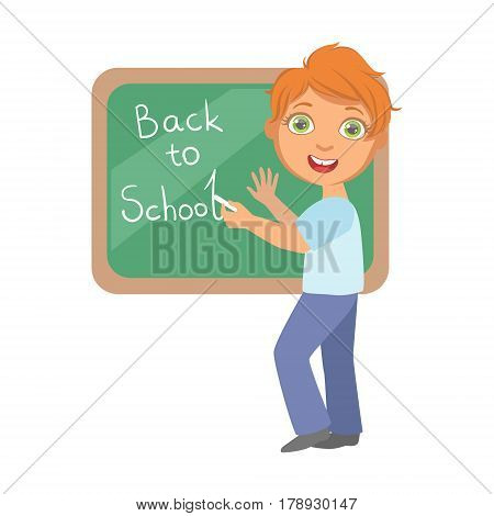 Elementary school student writing text Back to School on the blackboard, education and back to school concept, a colorful character isolated on a white background