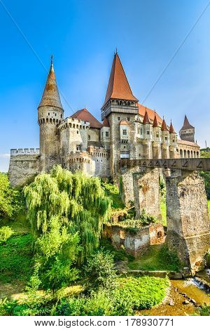 The Corvin Castle or Corvinesti Castle is situated on a higher hill in Hunedoara, Romania. The construction of this castle begun in the 14th century and changes were made until 16th century.