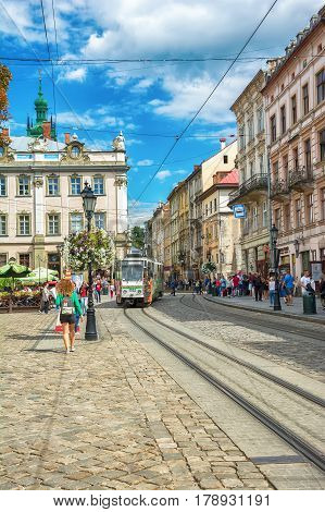 Lviv Ukraine - August 15 2016: Historic center of Lviv on the corner of Market Square
