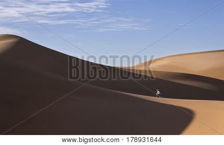young man walking in sand dunes in Liwa desert in Abu Dhabi