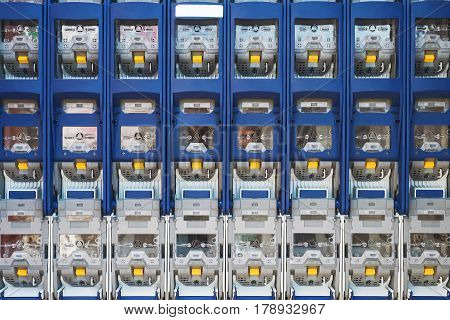 electricity distribution box with wires and circuit breakers fuse box