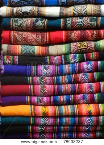 Stack of colorful blankets in Jujuy ,argentina
