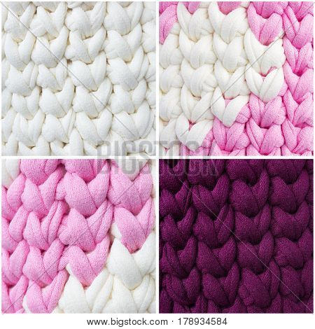 Bright samples of crochet stitches collage. Pink white and Burgundy crochet textile pattern. Thick ribbon cotton yarn