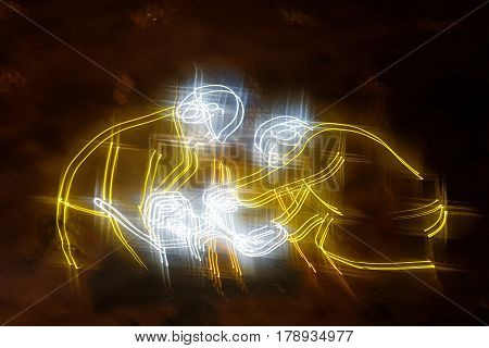 STOCKHOLM SWEDEN - MAR 25 2017: Tunnel with yellow laser show in the ceiling showing tunnel workers in the Stockholm Tunnel Run Citybanan 2017. March 25 2017 in Stockholm Sweden