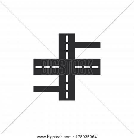 Crossroads icon vector streets filled flat sign solid pictogram isolated on white logo illustration