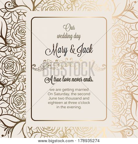 Antique Baroque Luxury Wedding Invitation, Gold On Beige Background With Frame And Place For Text, L
