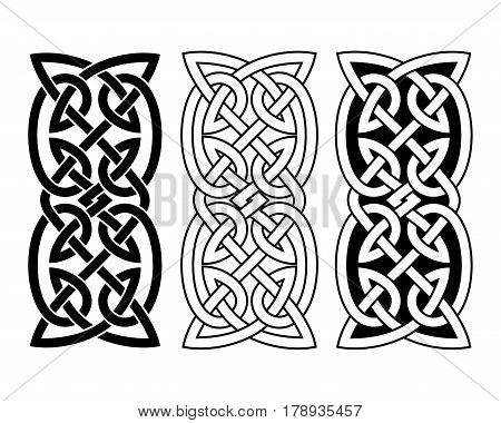 Celtic national ornament interlaced tape. Black ornament isolated on white background.
