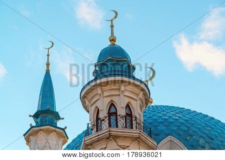 View of the minarets mosque Kul-Sharif at a sunset. Russia, Tatarstan