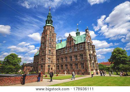 COPENHAGEN DENMARK - JUNE 15: Rosenborg Castle is castle situated at centre of Copenhagen Denmark in 2012